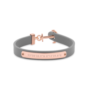 Paul Hewitt Lady's Signum Anchor Bracelet Rose Gold Leather Grey