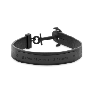 Paul Hewitt Gents Anchor Bracelet Signum Leather Black Anchor