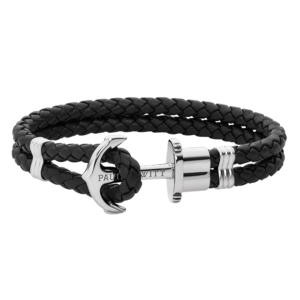 Paul Hewitt Phrep Bracelet Silver Leather Black